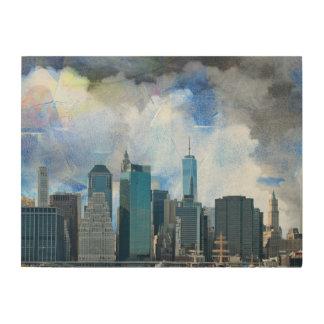 Quadro De Madeira Skyline de New York Manhattan