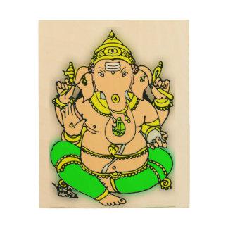 Quadro De Madeira Sri Ganesha