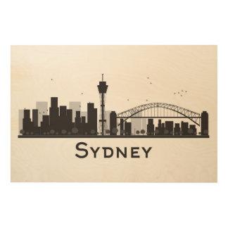 Quadro De Madeira Sydney, Austrália skyline preta & branca de | da