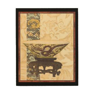 Quadro De Madeira Tapeçaria asiática com design da bacia e do dragão