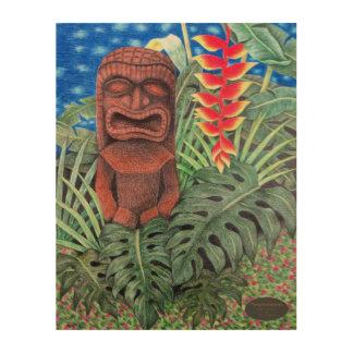 Quadro De Madeira Tapeçaria de madeira dos deus da guerra havaianos