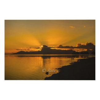 "Quadro De Madeira Tela ""deitar de Sol"" sobre a ilha de Moorea"