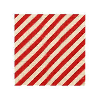 Quadro De Madeira Teste padrão diagonal vermelho e branco das