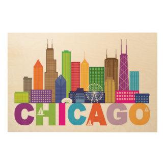 Quadro De Madeira Tipografia da skyline da cidade de Chicago