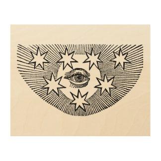 Quadro De Madeira Todo-Vendo o olho de Horus