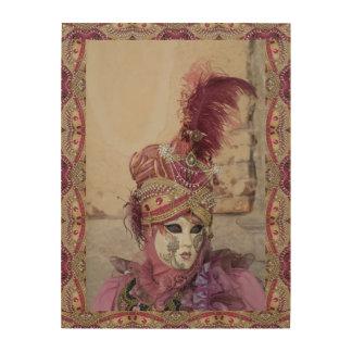 Quadro De Madeira Traje roxo do carnaval, Veneza