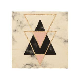 Quadro De Madeira Triângulos, ouro, preto, rosa, mármores, colagem,