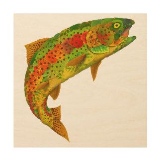 Quadro De Madeira Truta de arco-íris 5 da folha de Aspen