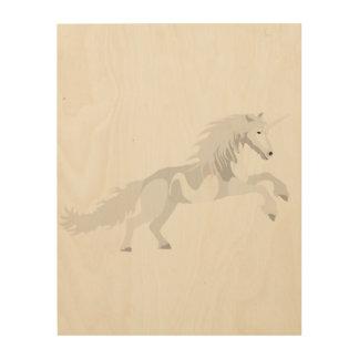 Quadro De Madeira Unicórnio do branco da ilustração