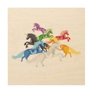 Quadro De Madeira Unicórnios selvagens coloridos da ilustração