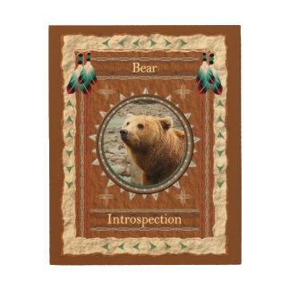 Quadro De Madeira Urso - canvas da madeira da Introspecção