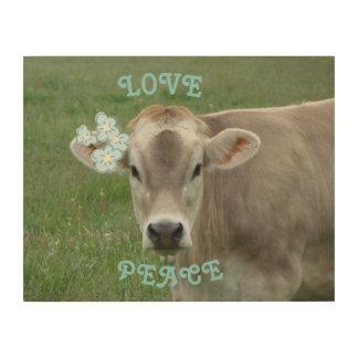 Quadro De Madeira Vaca da flor do amor e da paz