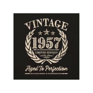 Quadro De Madeira Vintage 1957 - 60th arte da madeira do aniversário