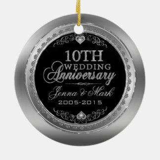 Quadro de prata & aniversário de casamento dos ornamento de cerâmica redondo