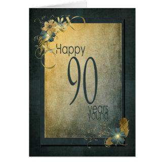 quadro do Aniversário-vintage do 90 Cartão Comemorativo