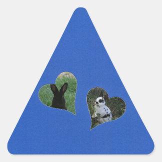 Quadro do coração do azul dois adesivo triangular