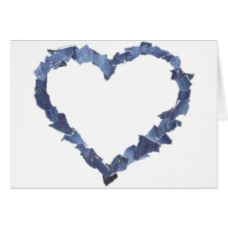 Quadro do coração feito de partes de jeans da cartão comemorativo