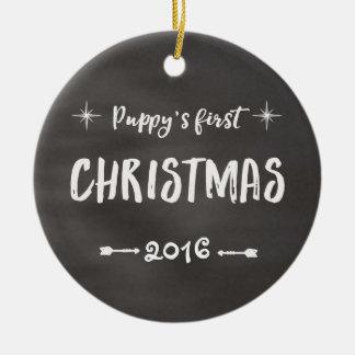Quadro do Natal do filhote de cachorro ø Ornamento De Cerâmica Redondo