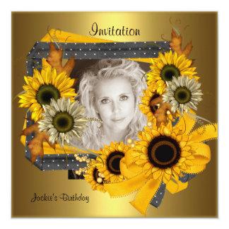 Quadro do ouro do girassol da foto do aniversário convite