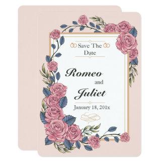 Quadro dos rosas que Wedding economias o cartão de Convite 12.7 X 17.78cm