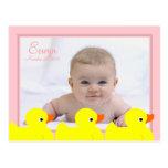Quadro Ducky de borracha cor-de-rosa Cartões Postais