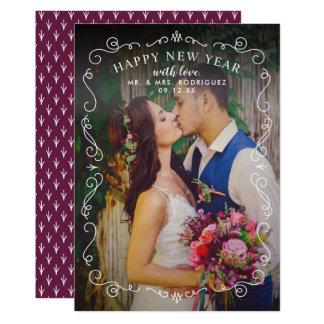 Quadro elegante do cartão com fotos | do feliz ano