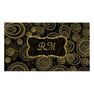 Quadro elegante do ouro do vintage do preto e do o modelos cartões de visitas