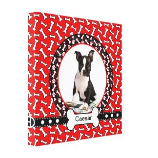 Quadro engraçado do retrato do cão dos ossos das p impressão de canvas esticada