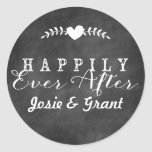 Quadro feliz nunca após Wedding a etiqueta Adesivo Em Formato Redondo