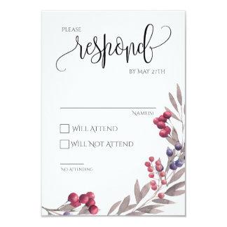 Quadro floral 3.5x5 do cartão do casamento RSVP