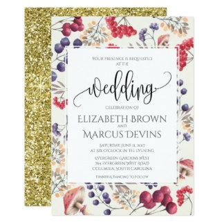 Quadro floral 5x7 do convite do casamento