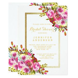 Quadro floral chique elegante do ouro do chá de convite 12.7 x 17.78cm