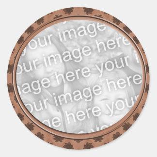 quadro floral marrom da foto adesivo em formato redondo