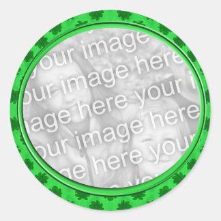 quadro floral verde da foto adesivo em formato redondo