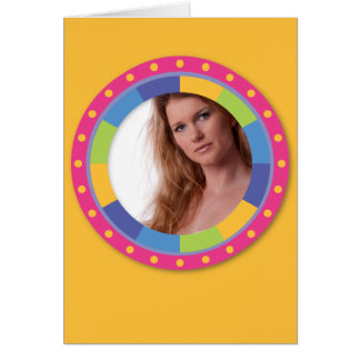 Quadro Funky do círculo - disco! no amarelo Cartão De Nota
