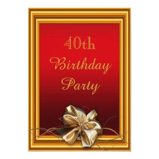 Quadro glamoroso do ouro & aniversário de 40 anos convites
