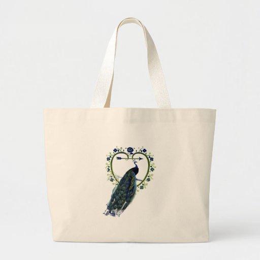 Quadro impressionante do pavão e da flor do coraçã bolsa