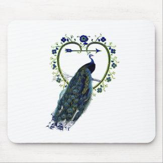 Quadro impressionante do pavão e da flor do coraçã mouse pad