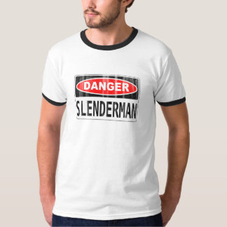 Quadro indicador delgado do perigo do homem camiseta