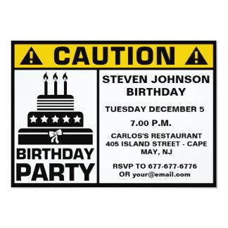 Quadro indicador engraçado do cuidado da festa de convite 12.7 x 17.78cm