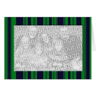Quadro listrado da foto do verde azul cartão comemorativo