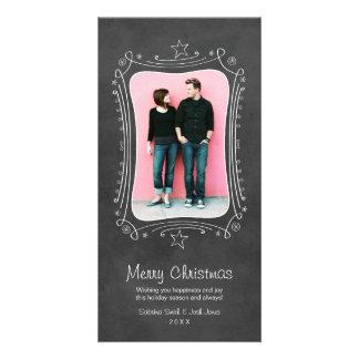 Quadro preto do cartão com fotos do Feliz Natal