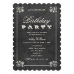 Quadro preto dos convites de festas de aniversário