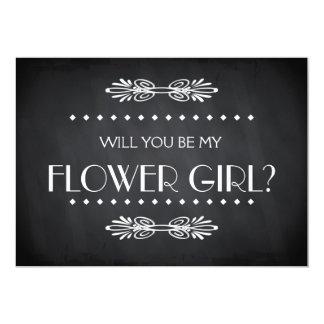 Quadro preto você será meu Flowergirl Convite 12.7 X 17.78cm
