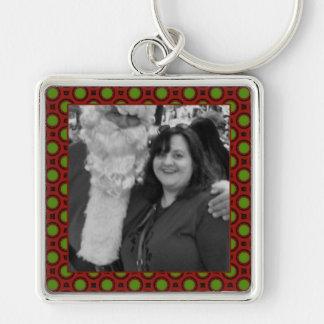Quadro quadrado da foto das bolinhas do feriado chaveiro quadrado na cor prata