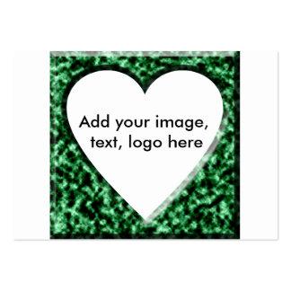 Quadro quadrado verde com abertura do coração cartão de visita grande