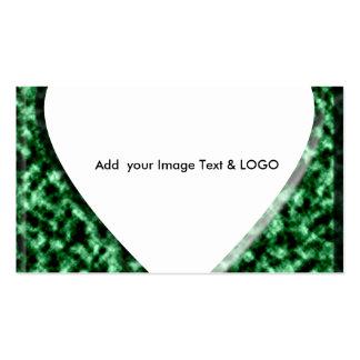 Quadro quadrado verde com abertura do coração cartão de visita