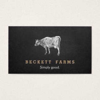 Quadro rústico do país do logotipo da vaca de cartão de visitas