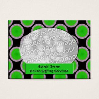 Quadro verde e preto da foto do círculo cartão de visitas