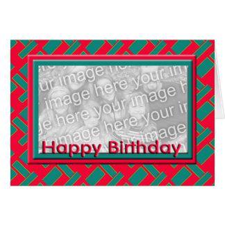 Quadro vermelho da foto do feliz aniversario cartão comemorativo